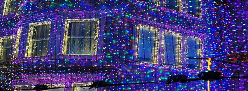 Beautiful blue christmas house lights facebook covers for Home beautiful facebook