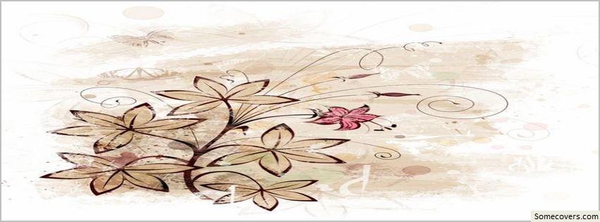 Brown Vintage Flowers Design Facebook Timeline Cover ...