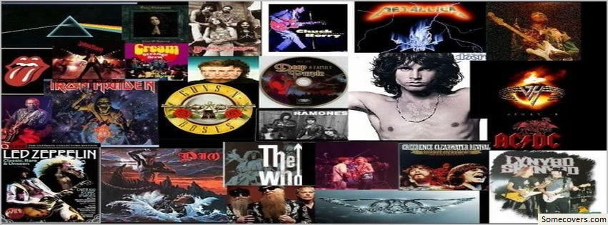 classic rock music collage facebook timeline cover