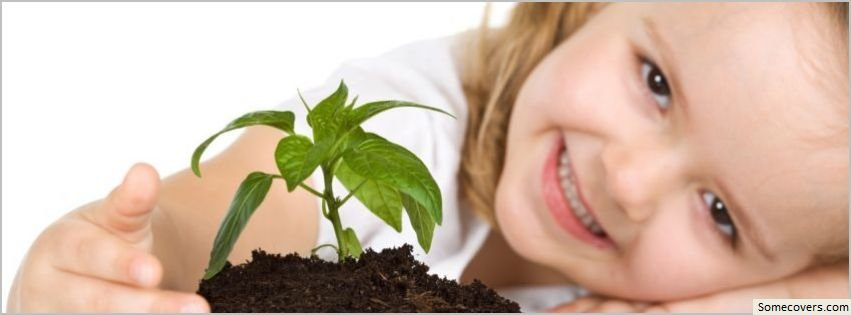 Cute baby girl plant facebook timeline cover